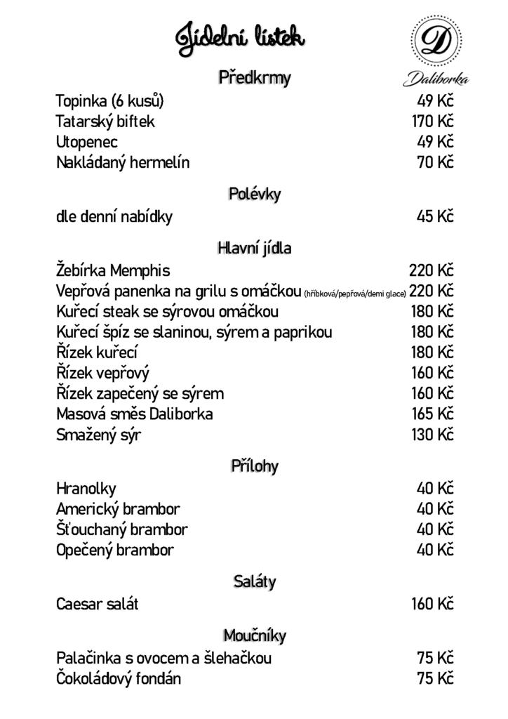 Jídelní lístek restaurace DALIBORKA Chodov platný od 11.5.2020 do 25.5.2020 pro terasu s obsluhou nebo pro vyzvednutí s sebou v menu boxu. — v Daliborka Chodov.